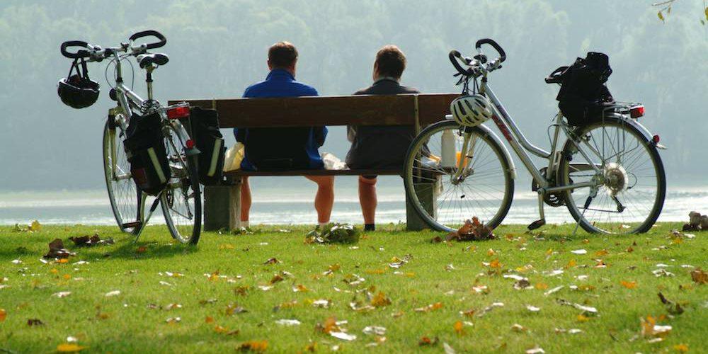 Radfahren an der Donau pausieren